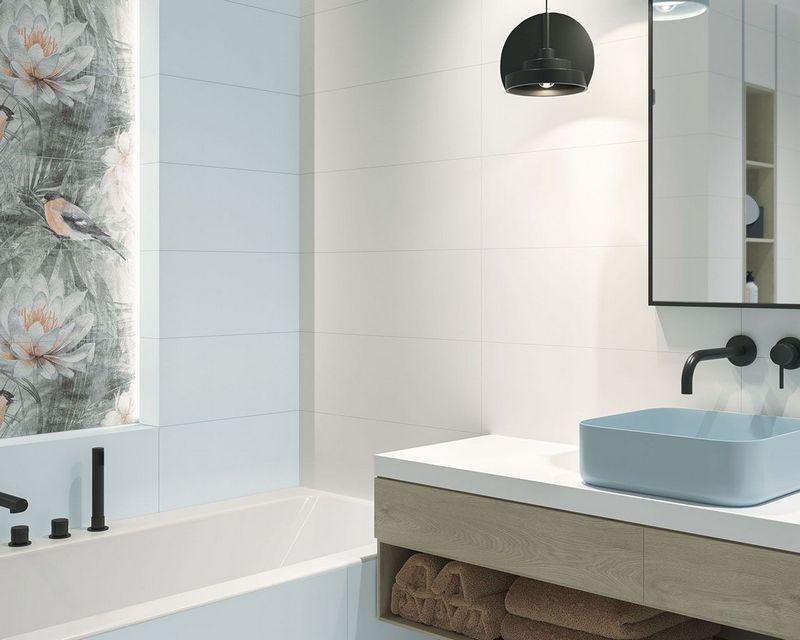 Керамическая плитка Paradyz Amelia в интерьере ванной