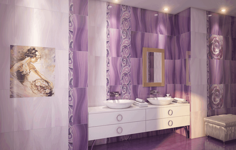 Керамическая плитка Gracia Ceramica Arabeski в интерьере ванной
