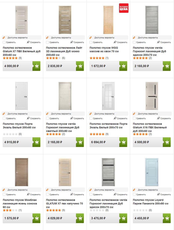 Каталог межкомнатных дверей в ОБИ с ценами