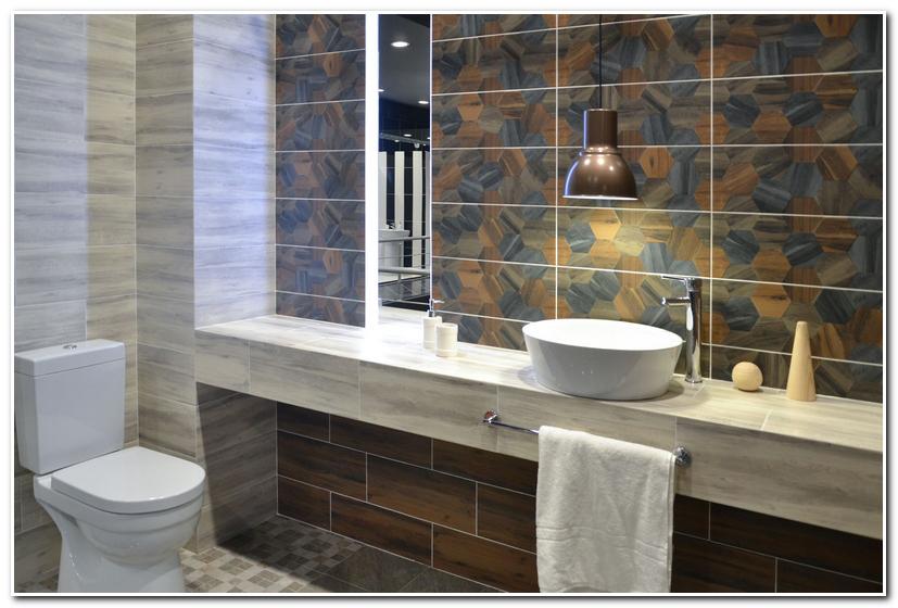 Керамическая плитка Керамин Миф в интерьере ванной