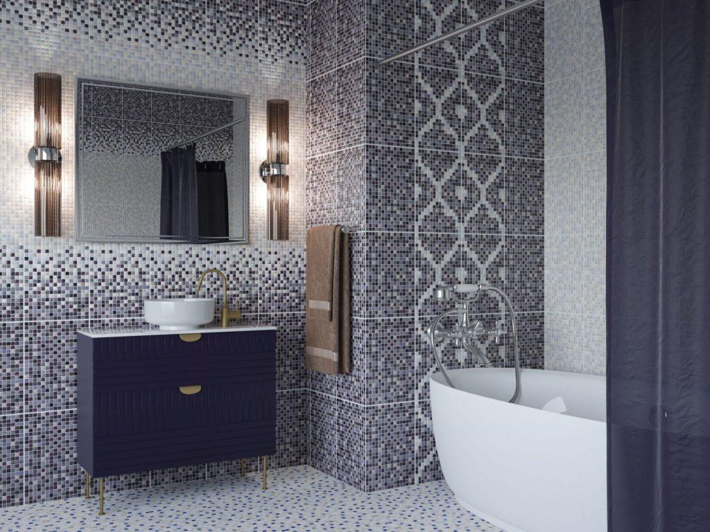 Керамическая плитка Керамин Гламур в интерьере ванной