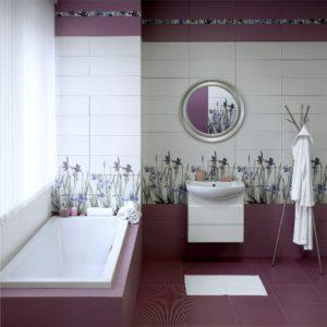 Керамическая плитка Керамин Ирис в интерьере ванной