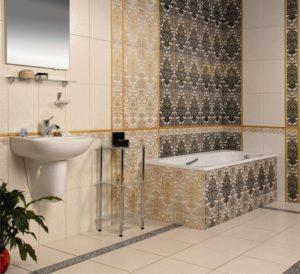 Плитка Органза Керамин в интерьере ванной