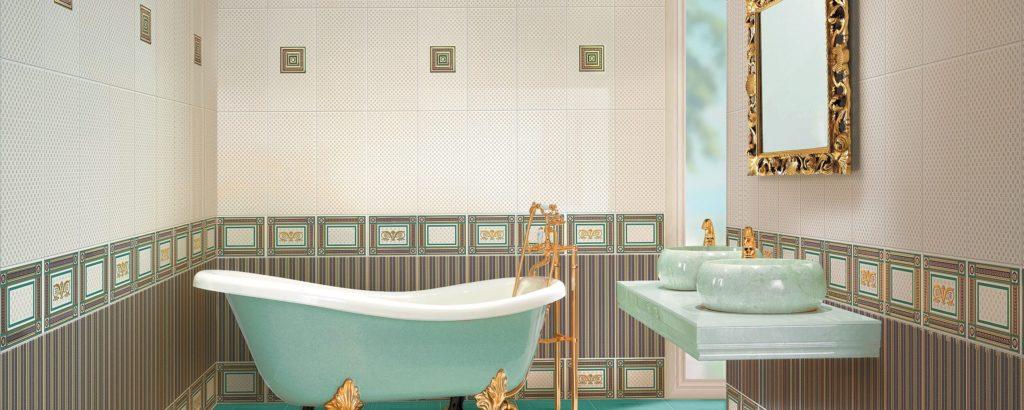 Керамическая плитка Нефрит Керамика Золотая в интерьере
